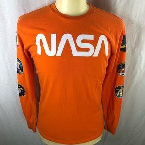 Chemistry Mens Orange M NASA LS T-shirt in EUC